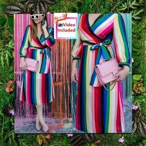 NWT Alice + Olivia Rainbow Stripe Wrap Dress 2 XS